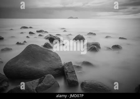 Black and white landscape photography of evening seaside scenic view in the land of Malaysia - Stock Photo