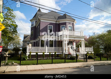 large detached victorian wooden home in affluent savin hill Boston USA - Stock Photo