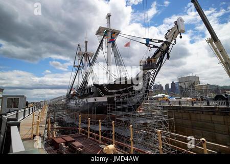 USS Constitution in dry dock Charlestown navy yard Boston USA - Stock Photo