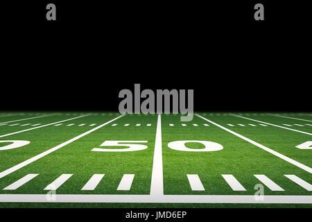 3d rendering empty american football field with stadium - Stock Photo
