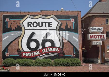 pontiac on route 66 illinois - Stock Photo