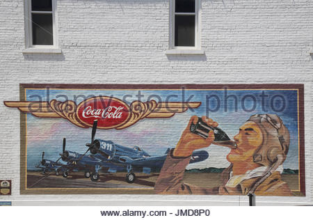 Usa illinois pontiac mural on route 66 stock photo for Coca cola wall mural