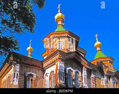 Russian Orthodox Holy Trinity Cathedral in Karakol, Kyrgyzstan.  --Digital Photo Art Painting - Stock Photo