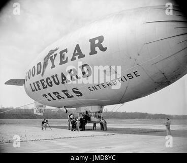Goodyear Blimp, Washington DC, USA, Harris & Ewing, April 1938 - Stock Photo