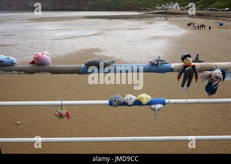 Saltburn Yarn Bombing  Knitting Decorating the Pier - Stock Photo