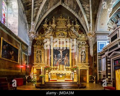 Colourful ornate interior and altar, Church of St Martin and St Blaise, Cadillac, commune in  Gironde department, - Stock Photo