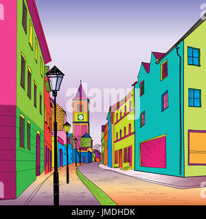 Funky journey. Pedestrian street in European city. Colorful panorama city vector background in 1960s pop art style. - Stock Photo