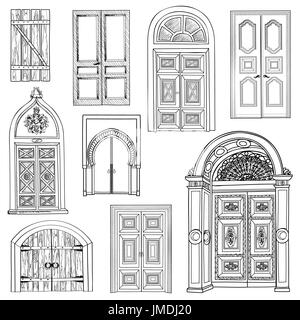 Collection Of Hand Drawn Sketch Vintage Doors
