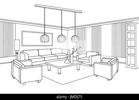 Living room view interior outline sketch furniture blueprint living room view interior outline sketch furniture blueprint stock photo malvernweather Choice Image