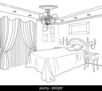 Bedroom furniture doodle line sketch of home interior vintage bed doodle line sketch of home interior vintage bed room blueprint malvernweather Choice Image