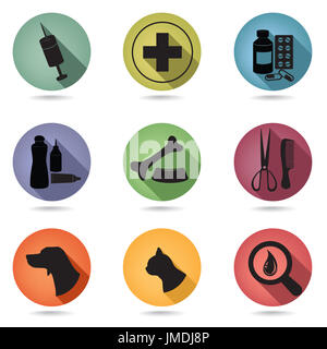 Pets care icons set. Vet clinic symbol. Veterinary Medical pharmacy signs - Stock Photo
