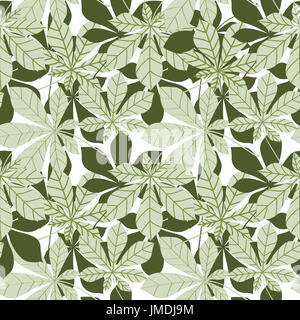 Leaves seamless pattern. Floral chestnut leaf wallpaper in retro japanese style. - Stock Photo