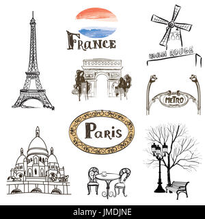 Paris icons set. Hand-drawn  sketch of France landmarks: Eiffel Tower Basilica of the Sacred Heart of Paris lamppost - Stock Photo