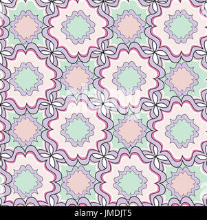 Abstract seamless pattern. Geometric stylish texture. Floral tiles with rhombus. Oriental ethnic ornament. - Stock Photo