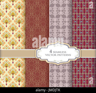 Seamless pattern set in vintage style. Abstract vector texture. Geometric backgrounds - Stock Photo