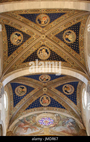 Italy, Lucca - September 18 2016: the view of the ceiling on the interior of Lucca Cathedral. Cattedrale di San - Stock Photo
