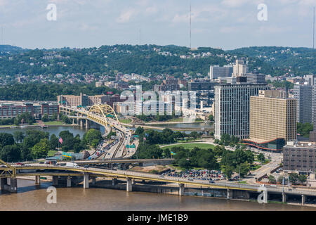 Fort Duquesne Bridge and Point State Park, Pittsburgh - Stock Photo