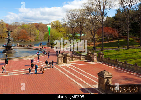 NEW YORK CITY-APRIL 2: Central Park's historic Bethesda Fountain in New York City on April 2, 2012. It was designed - Stock Photo
