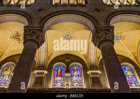 Sainte-Anne-de-Beaupre, Canada - June 2, 2017: Inside Basilica of Sainte Anne de Beaupre with tall ceilings and - Stock Photo
