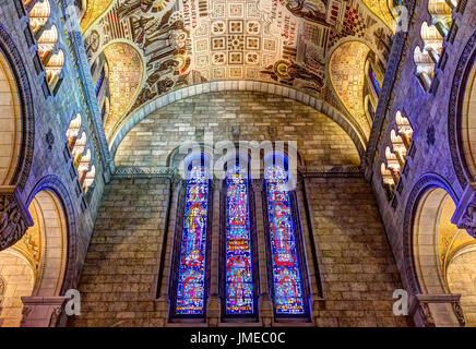 Sainte-Anne-de-Beaupre, Canada - June 2, 2017: Inside Basilica of Sainte Anne de Beaupre with tall ceilings and - Stock Photo