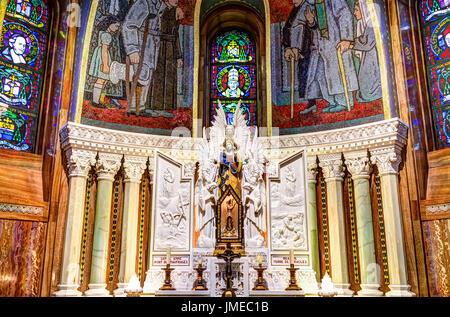 Sainte-Anne-de-Beaupre, Canada - June 2, 2017: Inside Basilica of Sainte Anne de Beaupre with stained glass windows - Stock Photo