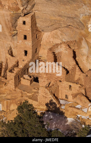Square Tower House, Mesa Verde National Park, Colorado - Stock Photo