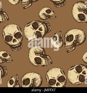 Seamless pattern  hand drawing skull . Seamless pattern can be used for wallpaper, pattern fills, web page backgrounds, - Stock Photo