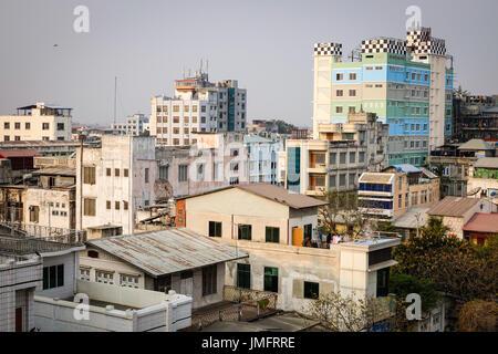 Mandalay, Myanmar - Feb 22, 2016. Buildings at downtown in Mandalay, Myanmar. Mandalay is the second-largest city - Stock Photo