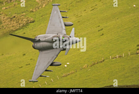 RAF Typhoon Eurofighter low level in Mid Wales - Stock Photo