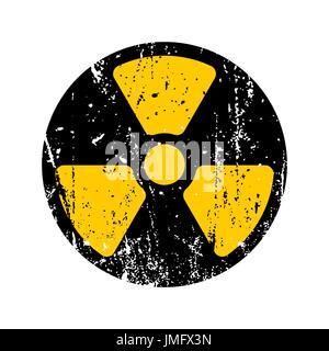 old sign radioactive danger. Shabby retro toxic danger symbol grunge - Stock Photo
