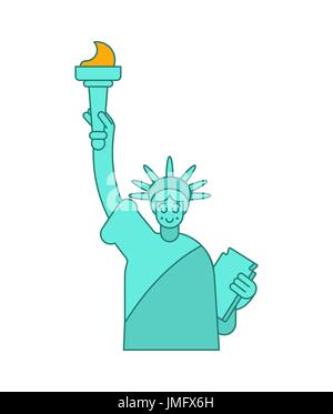 Statue of Liberty linear style. Landmark America. USA Sculpture New York. American symbol of freedom - Stock Photo