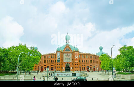 LISBON, PORTUGAL - MAY 2, 2012: The facade of the old bullfight arena - Campo Pequeno, located on the same named - Stock Photo