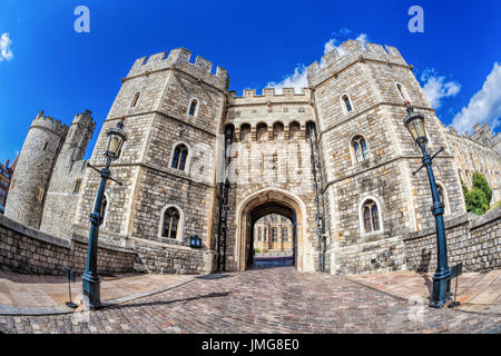 Windsor castle with gate near London, United Kingdom - Stock Photo