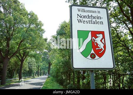 Bordersign of North Rhine-Westphalia (German: Nordrhein-Westfalen) NRW - Stock Photo