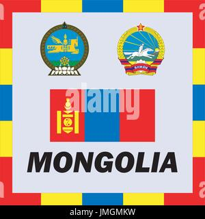 Official ensigns, flag and coat of arm of Mongolia - Stock Photo