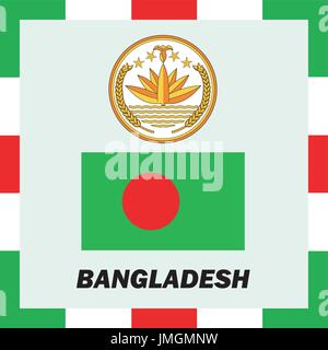 Official ensigns, flag and coat of arm of Bangladesh - Stock Photo