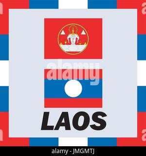 Official ensigns, flag and coat of arm of Laos - Stock Photo