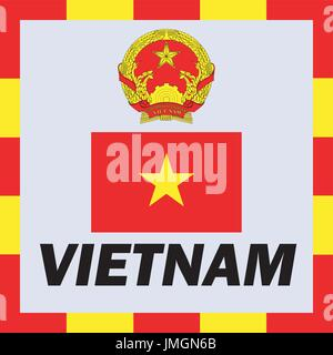 Official ensigns, flag and coat of arm of Vietnam - Stock Photo