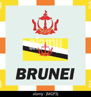 Official ensigns, flag and coat of arm of Brunei - Stock Photo
