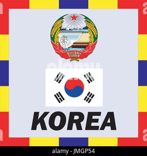 Official ensigns, flag and coat of arm of Korea - Stock Photo