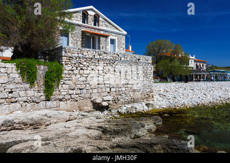 Beach in Pythagorio town on Samos island, Greece. - Stock Photo