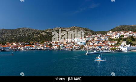 Harbor in Pythagorio town on Samos island, Greece. - Stock Photo