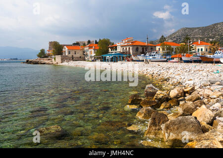 Beach in Pythagorio town on Samos island, Greece. - Stock Photo