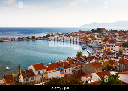 Pythagorio town on Samos island, Greece, as seen from above. - Stock Photo