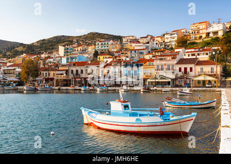Harbour of Pythagorion town on Samos island, Greece. - Stock Photo