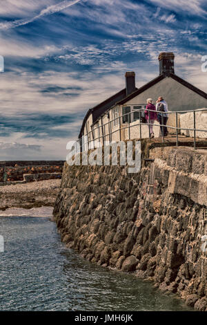 hdr effect - at Lyme Regis, Dorset in July - Stock Photo
