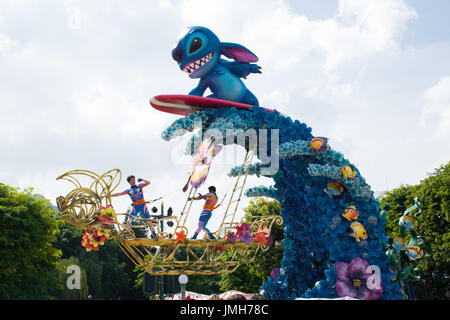 Stitch in the parade, Hong Kong Disneyland - Stock Photo
