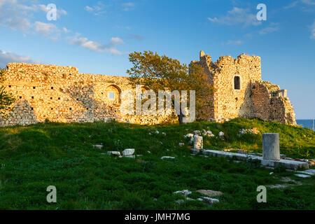 Castle in Pythagorio town on Samos island, Greece. - Stock Photo