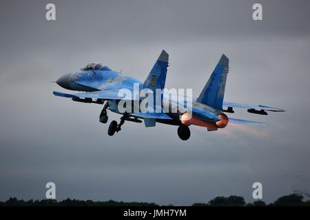 Sukhoi Su-27 Flanker of Ukrainian Air Force 831st Tactical Aviation Brigade, on afterburner at Royal International - Stock Photo