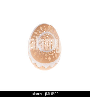 Easter hen's egg with carving. Macro. Isolated on a white background. - Stock Photo